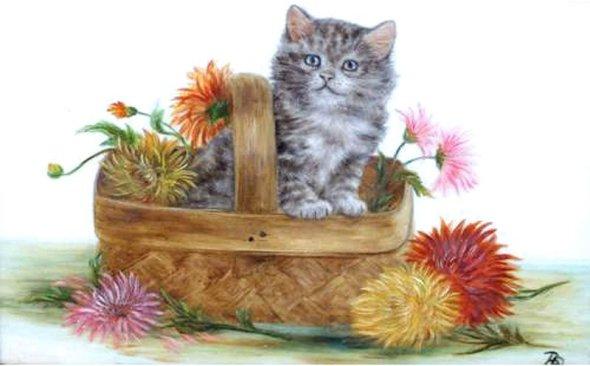 Kitten in Basket of Flowers, Bessie Bamber