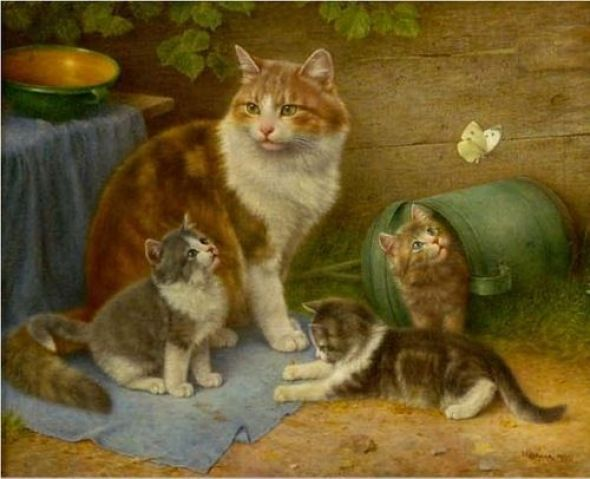Mother Cat and Three Kittens, Wilhelm Schwar