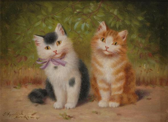 Sophie Sperlich, Two Sitting Kittens