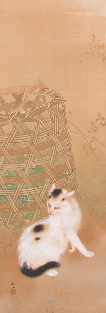 Takeuchi Seiho KOHARU Indian Summer (A Cat and a Bamboo Basket 1927