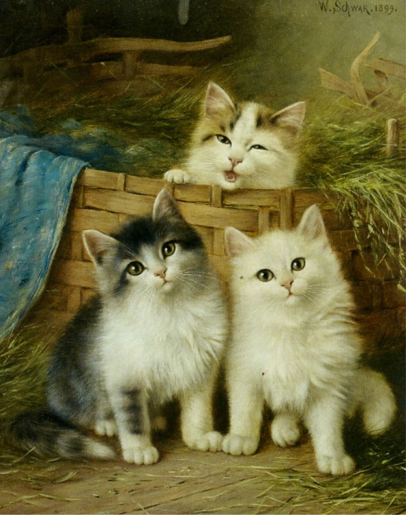 Three Kittens, 1899 Wilhelm Schwar