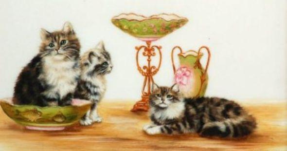 Three Kittens and China, Bessie Bamber