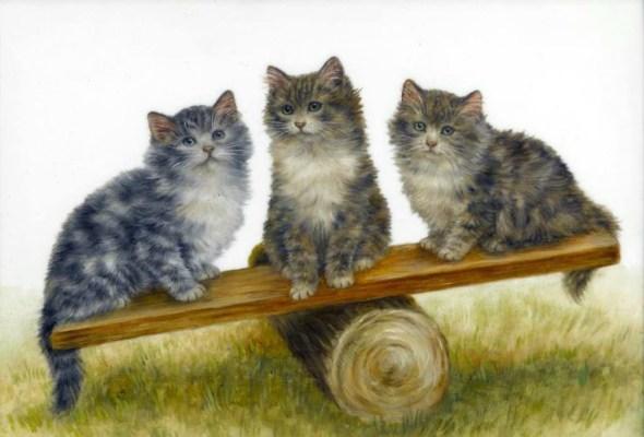Three Kittens on a Teeter-totter, Bessie Bamber
