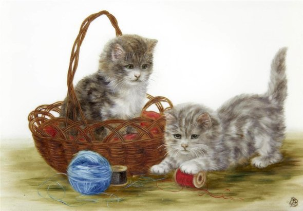 Two Kittens Playing with Thread, Bessie Bamber