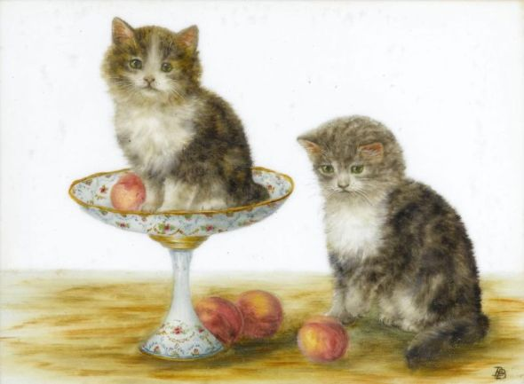 Two Kittens and Peaches, Bessie Bamber