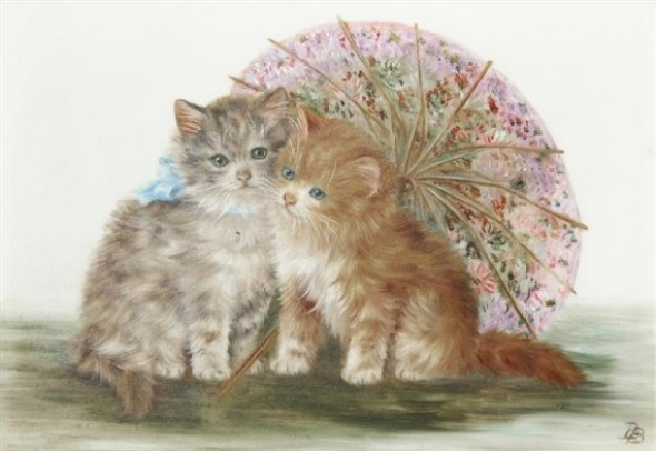 Two Kittens and an Umbrella, Bessie Bamber