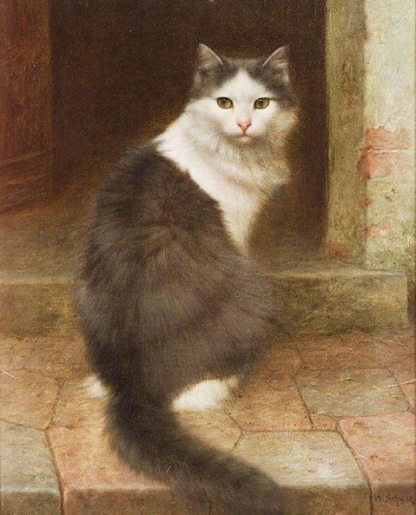 Cat on the Stoop, Wilhelm Schwar (German, 1860 - 1923)
