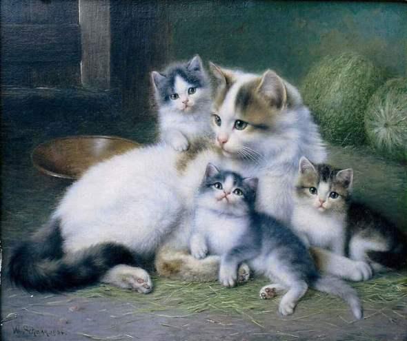 Wilhelm Schwar Mother and Kittens
