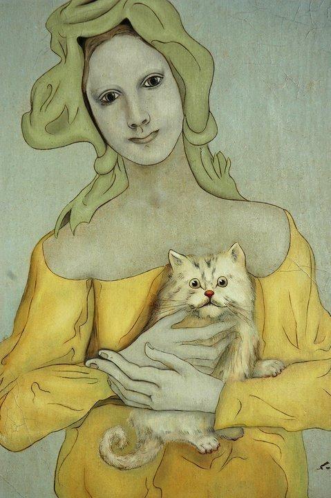 Woman Holding a Cat, Tsugouharu Foujita