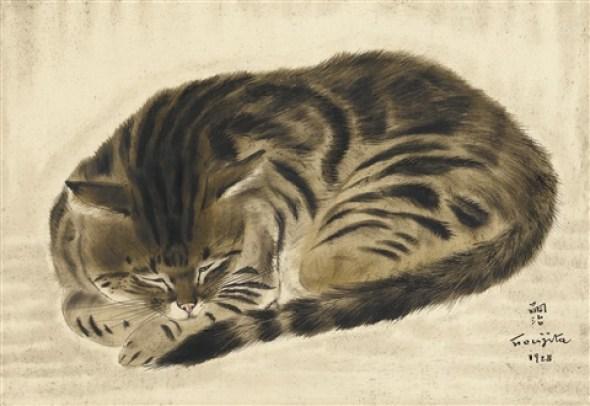 chat en rond by léonard tsuguharu foujita