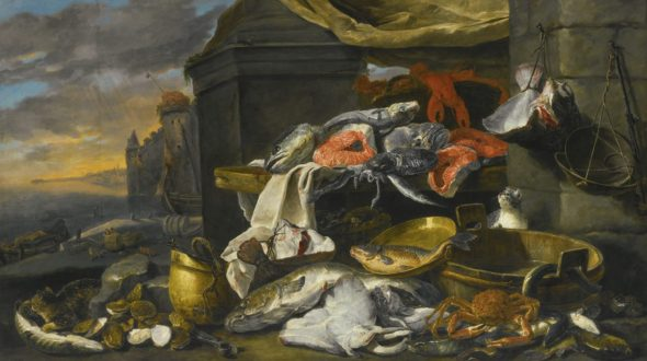 Fish, Oysters, a Crab and a Lobster with cats, Jan Fyt