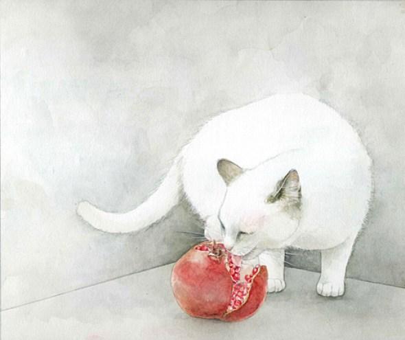 Midori Yamada20-White cat with Pomegranate
