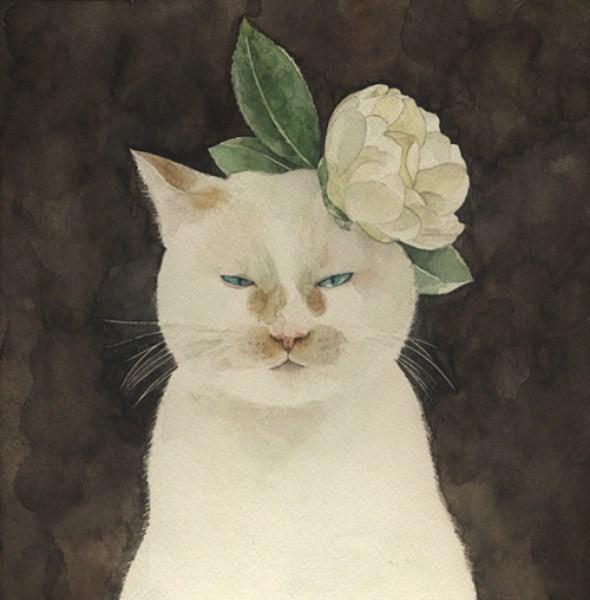 Midori Yamada6-white cat with flower