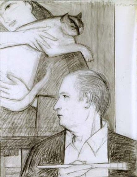 Study for Self-Portrait (with wife and cat) Charcoal on vellum with traces of colored pencil, 1983, Will Barnet