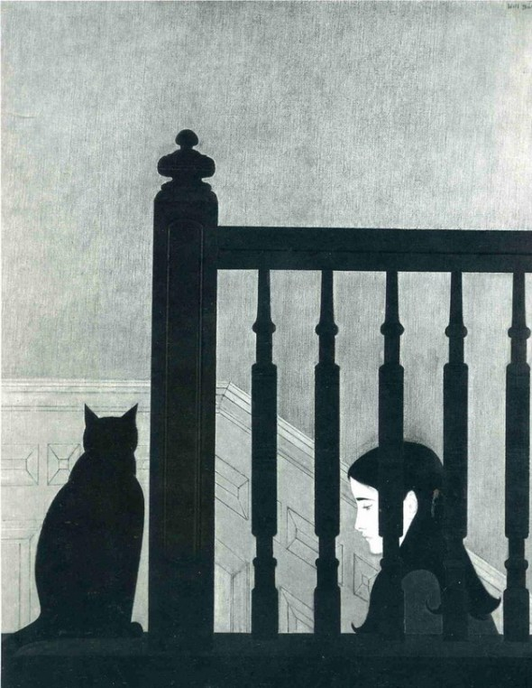 The Bannister lithograph of woman and cat, 1981 Will Barnet