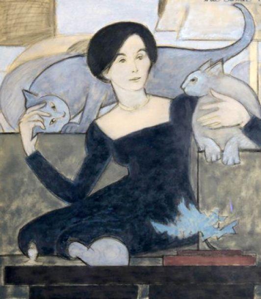 Will Barnet - Cat Lover, 1987. Gouache on Vellum.