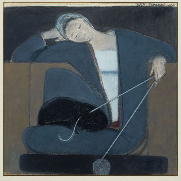 Will Barnet - Study for Woman Cat and Yarn 1981