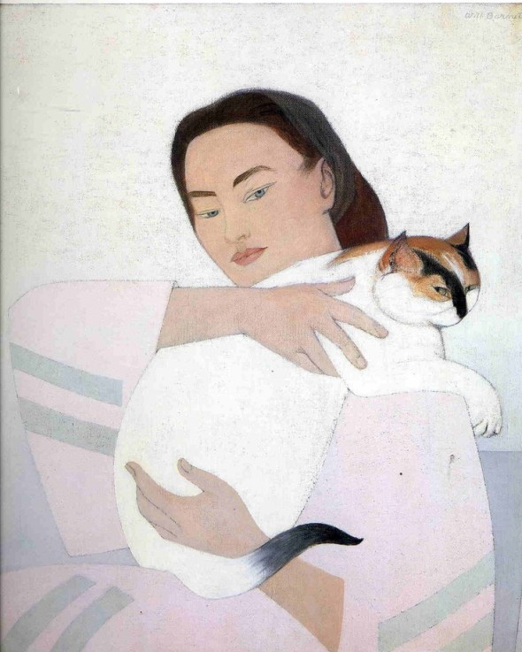 Young Woman with White Cat gouache painting Will Barnet