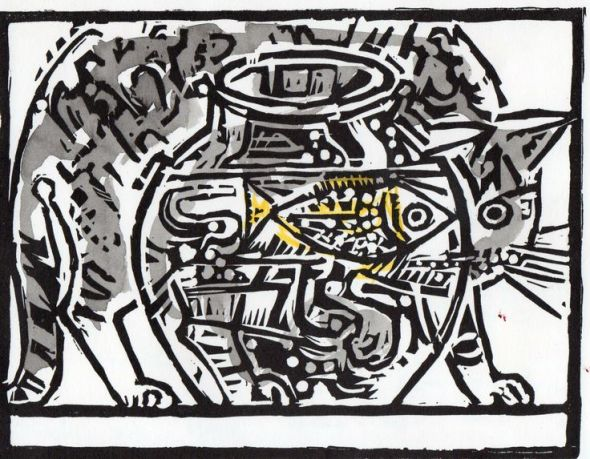 John Craxton, Cat and Goldfish Bowl 1975