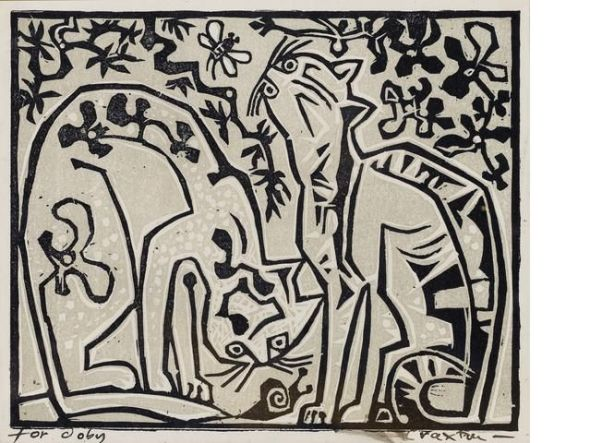 Two cats Linocut, printed in colours, on wove, signed and inscribed 'For Doby' in black ink,
