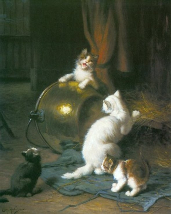 Kittens Playing, Leon Charles Huber