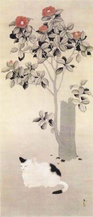 Camellias and Cat, Hishida Shunso