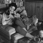 Jean Simmons and cat, famous cat lovers