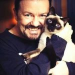 Ricky Gervais and Ollie his cat