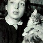 Marguerite Duras and cat