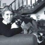 Natalie Ginzburg with cat