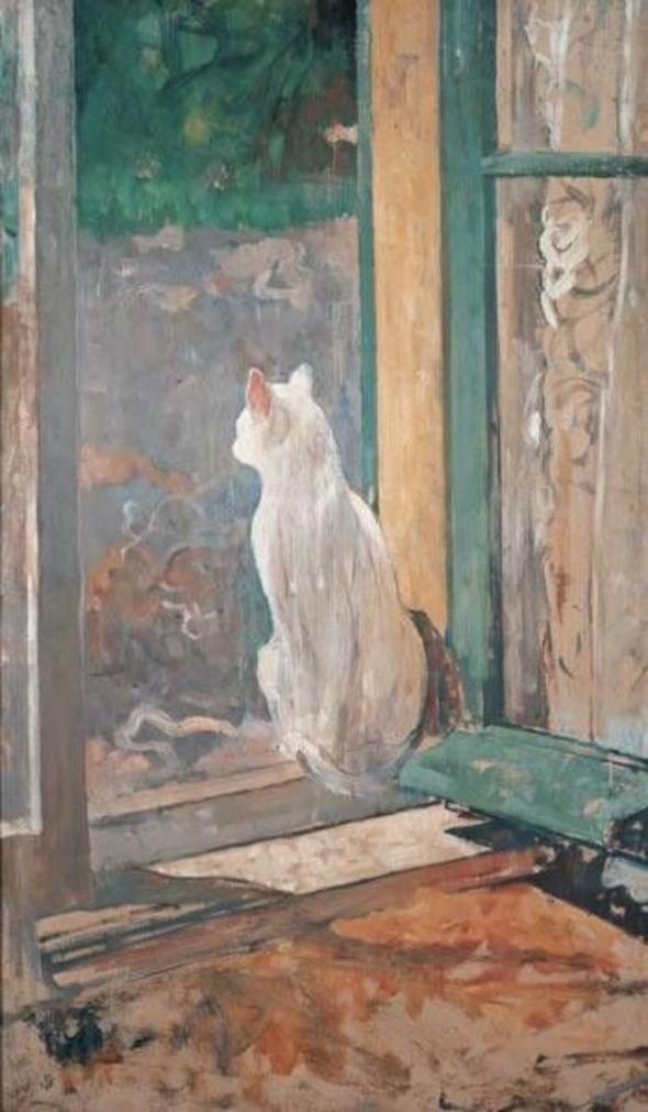 White Cat at an Open Window, Jacobus (Jac) van Looy, Jacobus van Looy