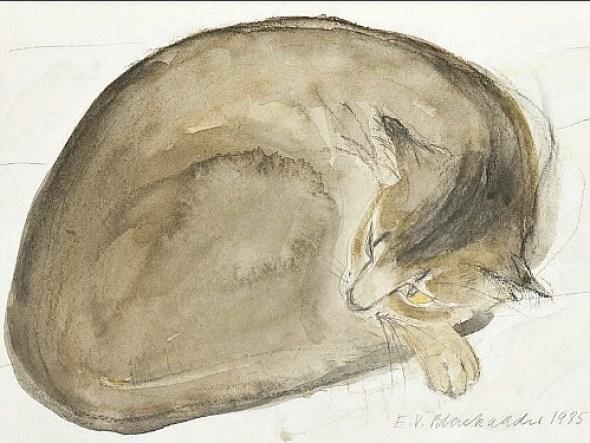 Abyssinian Cat Asleep, 1985 Elizabeth Blackadder