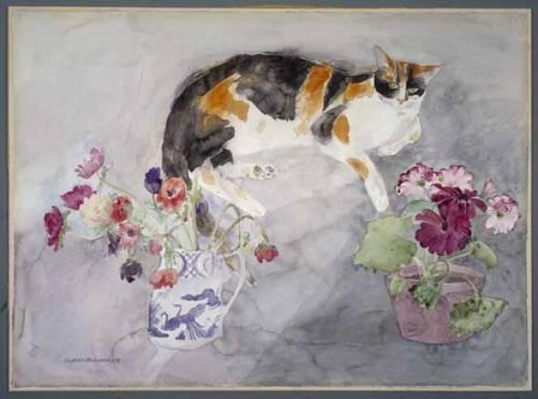 Elizabeth Blackadder, Cat and Flowers