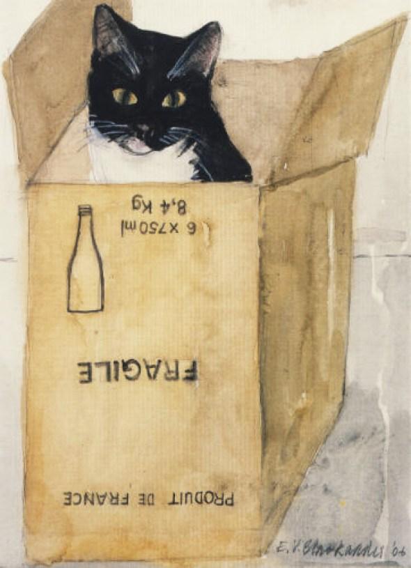 Dame Elizabeth Blackadder (British, b.1931) - Cat in a Box, 2004