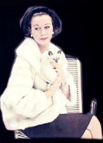 Vivian Leigh with Poo Jones, her cat
