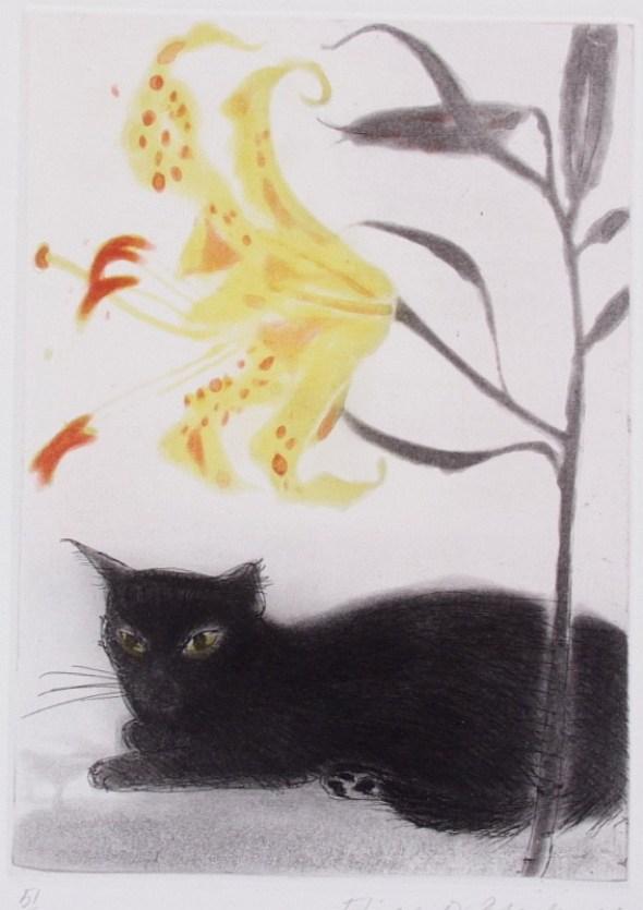Elizabeth Black Adder Black cat and Lily, 1978