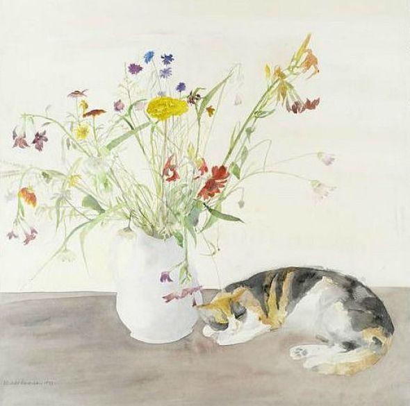Elizabeth Blackadder, Cat and Flowers, 1977