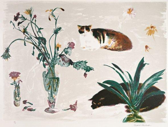 Elizabeth Blackadder, Two Cats and Flowers, 1980