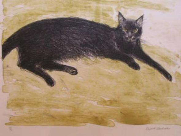 Elizabeth Blackadder, Black Cat Lying Down
