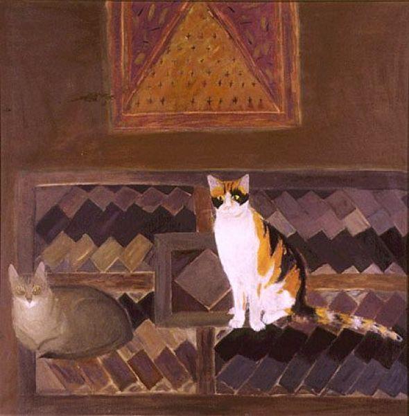 Two Cats on a Kilim by Elizabeth Blackadder, 197
