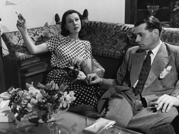 Lawrence Olivier and Vivien Leigh with Siamese cat New Boy, 1946
