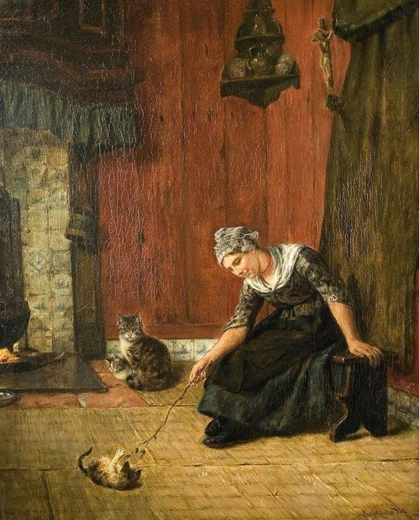 Karl Emil Mucke, Woman and Cat