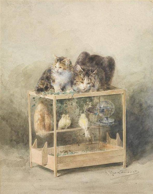 La cage des canaris guettee par les chats Louis Eugène Lambert, cats in art