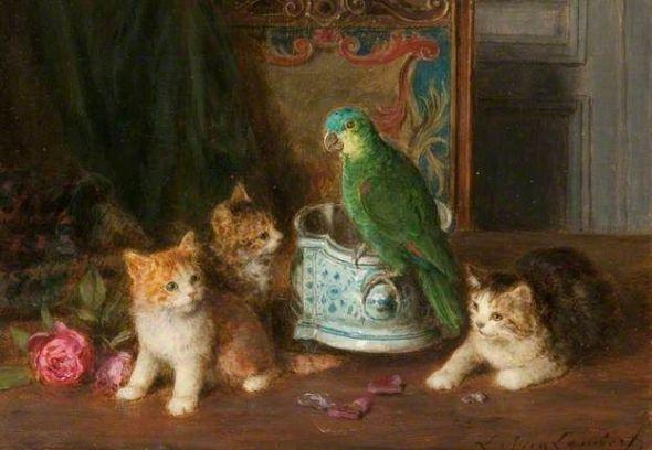 Kittens and Parrots, Louis Eugene Lambert