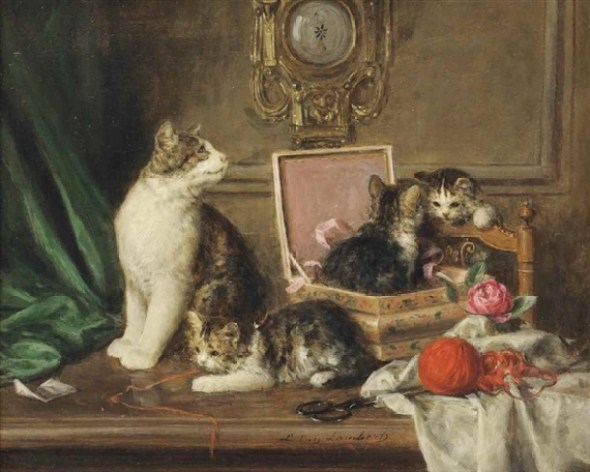 Mischief in the Sewing Room, Louis Eugene Lambert, cats in art