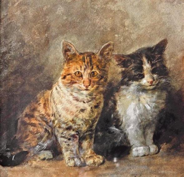 Two Kittens, Louis Eugene Lambert