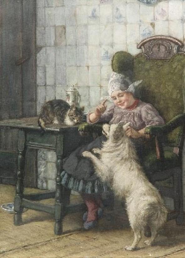 Karl Emil Mücke, Genreszene Holländermädchen mit Hund und Katze in der Stube (Dutch girl with dog and cat)