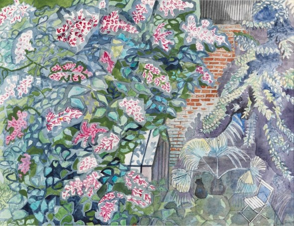 Cat and Greenhouse watercolour, 1986 Edward Bawden