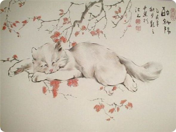 Gu Yingzhi, Cat and Flowers, Chinese art