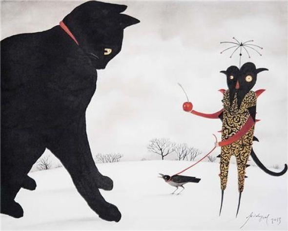 Feridun Oral, Black Cat, Cherry, Bird